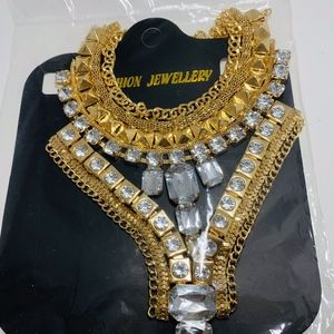 Fashion Necklace, Gold with Clear Rhinestones